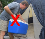 Do not store food inside your tent.